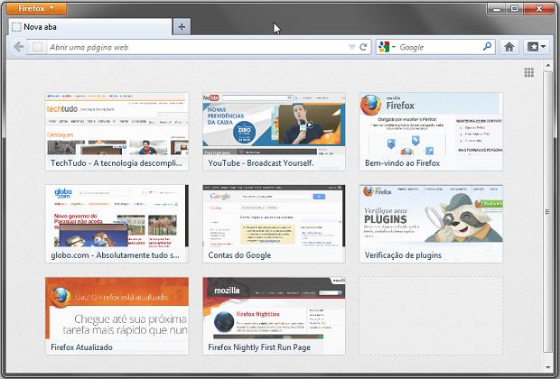 Página de nova aba do Firefox 13 (Foto: Reprodução/Helito Bijora)