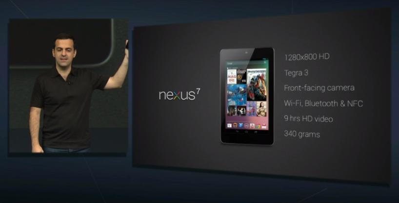 O novo tablet do Google: Nexus 7, apresentado agora na conferência anual da empresa (Foto: Reprodução/YouTube)