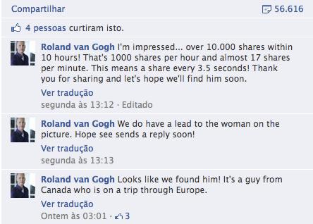 A foto foi compartilhada mais de 56 mil vezes e parece ter dado resultado como dito por Roland no último comentário (Foto: Reprodução/Facebook)