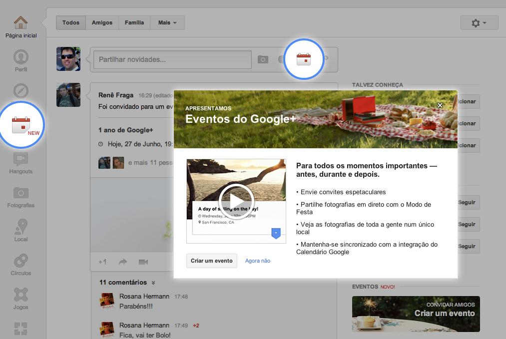 """Google+ agora tem """"Eventos"""" com integração com o calendário do Google (Foto: Reprodução/Google+)"""