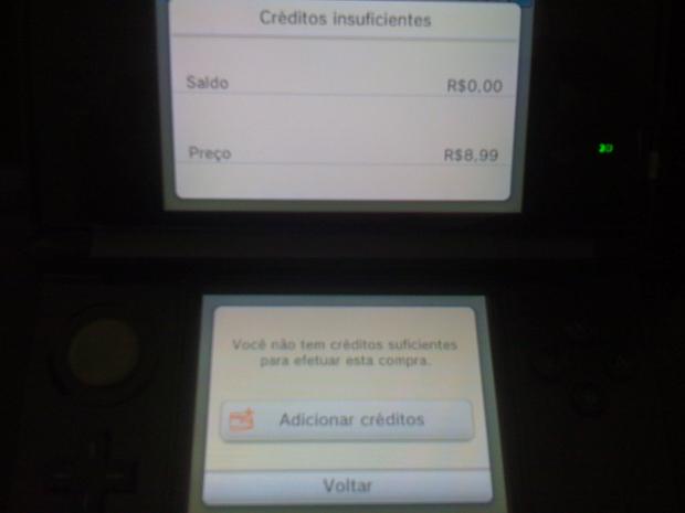 Adicione créditos para prosseguir na compra (Foto: Reprodução/Felipe Vinha)