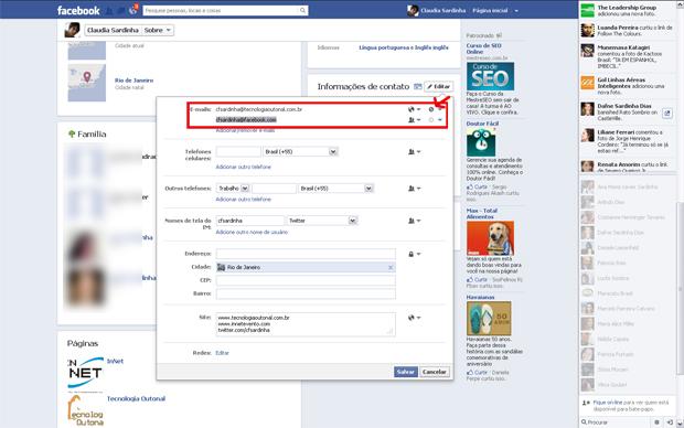 Ocultando e-mail criado pelo Facebook (Foto: Reprodução/Claudia Sardinha)