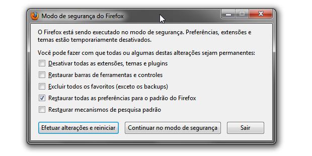 Restaurando as configurações originais do Firefox (Foto: Reprodução/Helito Bijora)