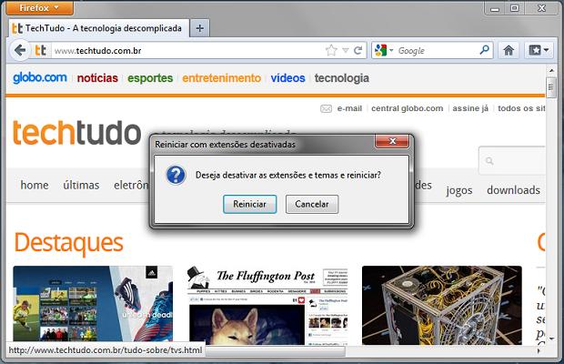 Reiniciando o Firefox em modo de segurança (Foto: Reprodução/Helito Bijora)