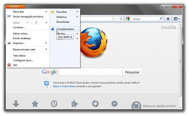 Acessando os plugins do Firefox (Foto: Reprodução/Helito Bijora)