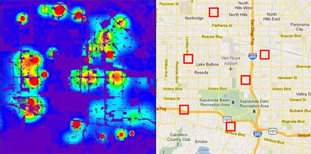 Mapa gerado no computador mostra áreas em vermelho como aquelas onde crimes irão acontecer (Foto: Reprodução)