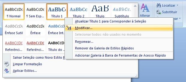 Acessando a tela de formatação de títulos