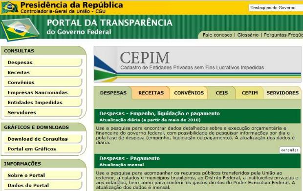 Portal da Transparência é página dedicada a relatórios sobre o Governo (Foto: Reprodução)