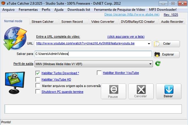 Colando a URL de um vídeo do YouTube no aTube Catcher (Foto: Reprodução)