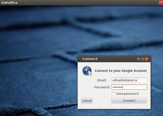 Digitando os dados para o programa acessar o GDrive (Foto: Reprodução/Edivaldo Brito)