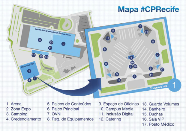 Mapa da Campus Party foi divulgado no Facebook (Foto: Reprodução)