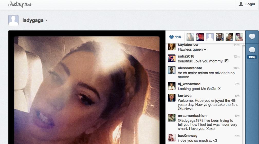 Lady Gaga chega ao Instagram com tudo (Foto: Reprodução/Instagram)