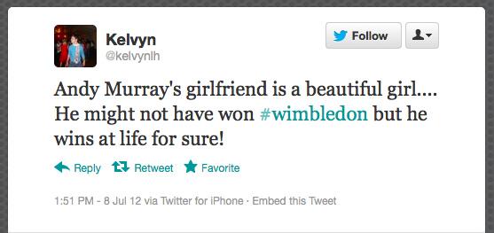 Tuítes sobre a namorada de Andy Murray bombaram no Twitter (Foto: Reprodução / Twitter)