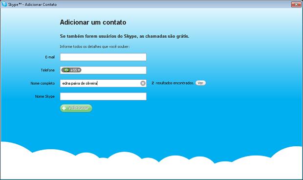 Procurando o contato na rede do Skype (Foto: Reprodução/Edivaldo Brito)
