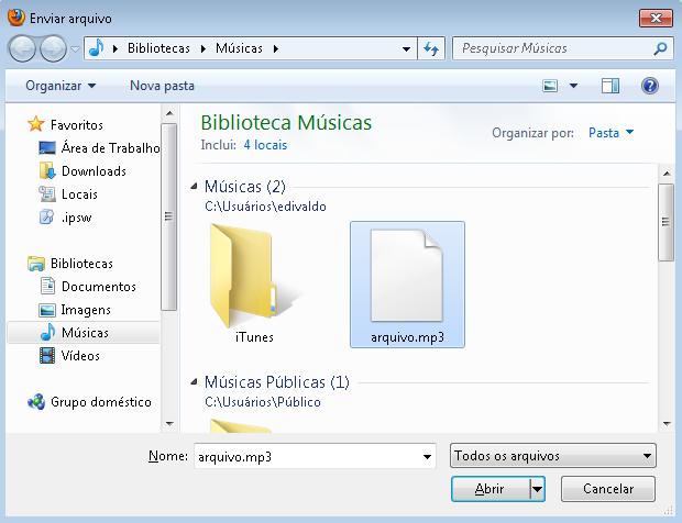 Adicionando o arquivo a ser enviado para o WordPress (Foto Reprodução/Edivaldo Brito)