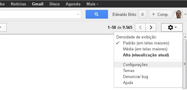 Entrando na tela de configurações do Gmail (Foto: Reprodução/Edivaldo Brito)