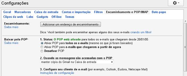 Ativando o suporte a POP no Gmail (Foto: Reprodução/Edivaldo Brito)