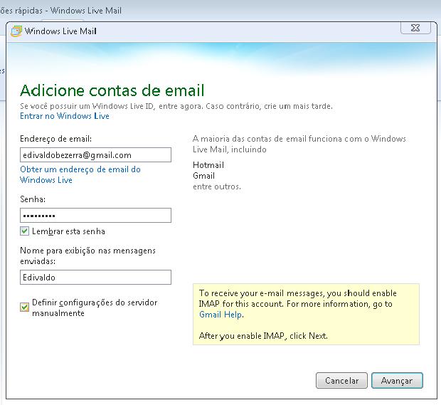 Colocando os primeiros dados da conta Gmail (Foto: Reprodução/Edivaldo Brito)