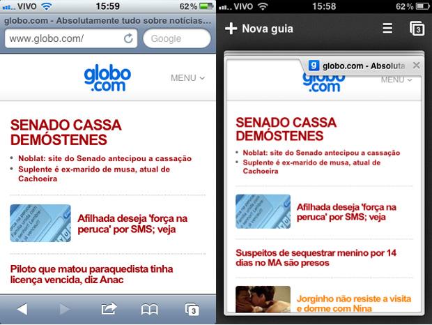 Chrome no iOS (Foto: TechTudo/Allan Melo)