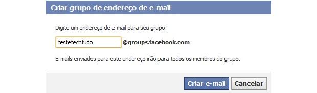 Endereço de e-mail e URL do grupo (Foto: Reprodução)