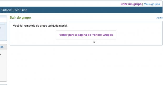 Confirmação da saída de um grupo no Yahoo Groups (Foto: Reprodução)