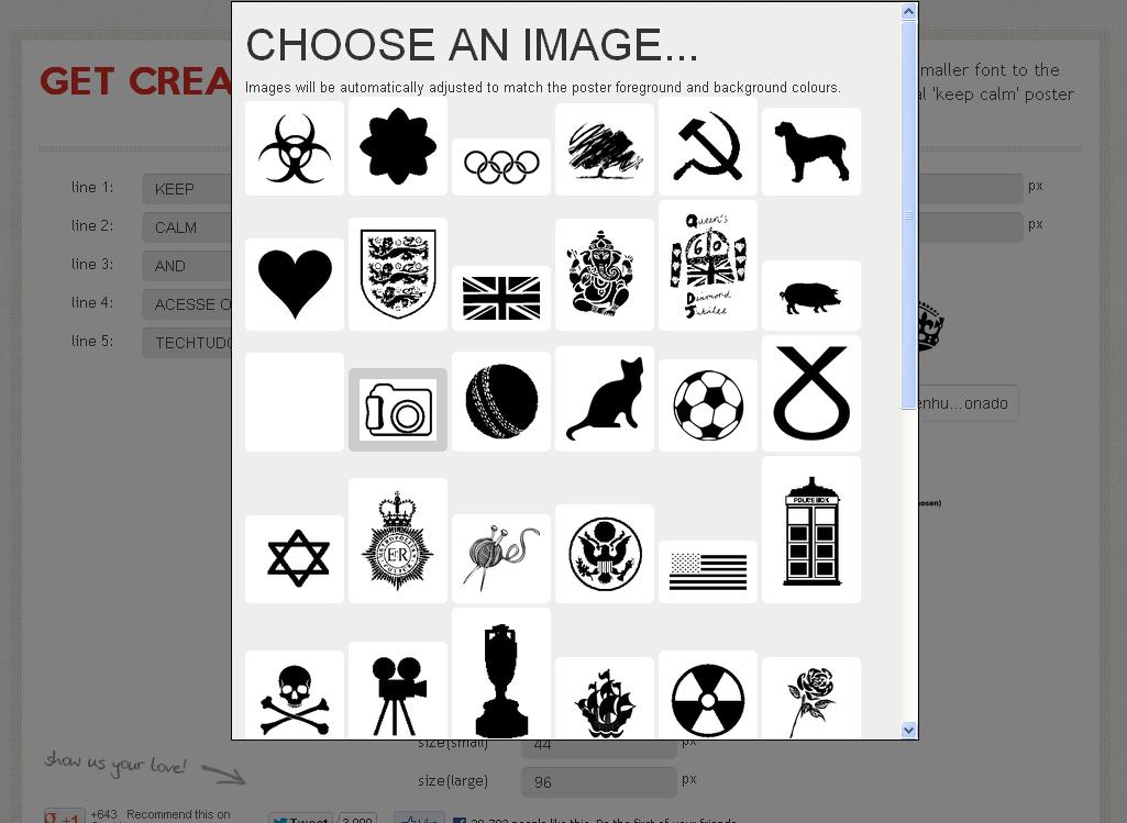 Optando por um desenho que será a logo do seu cartaz (Foto: Reprodução)