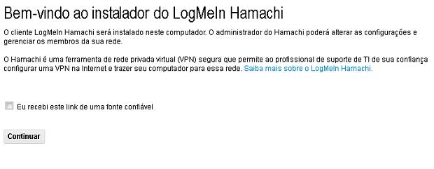 Acessando o convite para instalar o Hamachi (Foto: Reprodução/Edivaldo Brito)