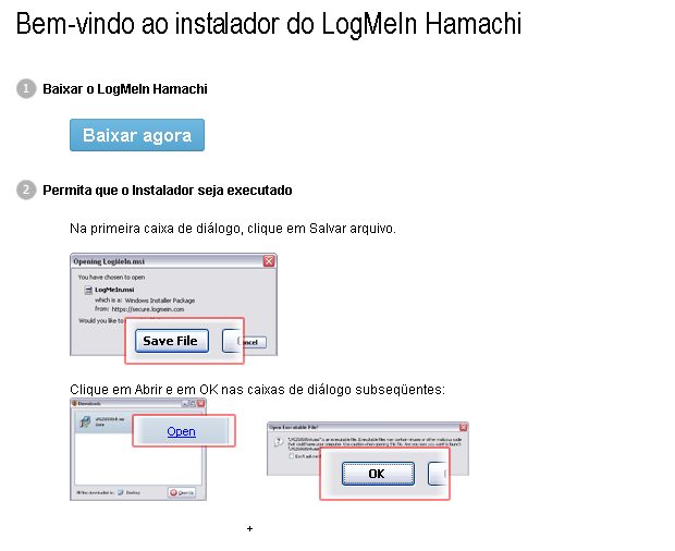 Clique em baixar pegar o instalador do Hamachi (Foto: Reprodução/Edivaldo Brito)