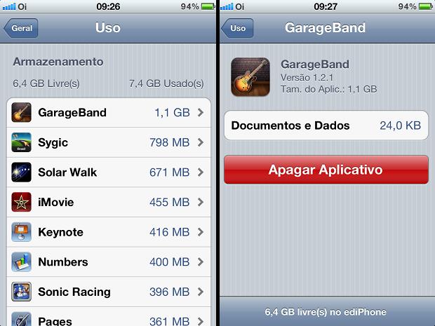 Apagando as apps gigantes no iPhone (Foto: Reprodução/Edivaldo Brito)