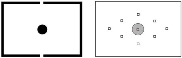 Medição Central ou Spot. A área cinza da segunda imagem representa o que será priorizado na foto. Fonte Reproduçao