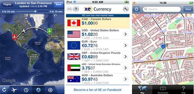 Flight Tracker, XE Currency Converter e OMaps (Foto: Divulgação)