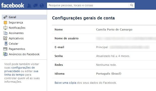 Acessando a opção de backup no Facebook