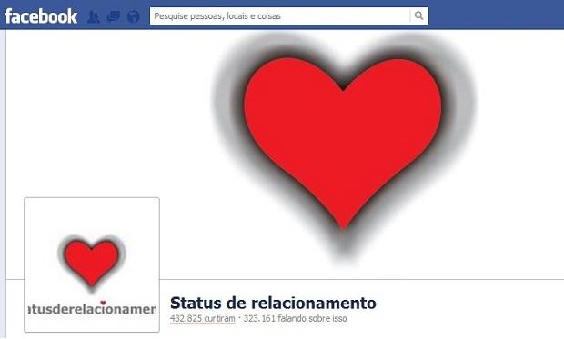 Página Status de Relacionamento no Facebook (Foto: Reprodução)