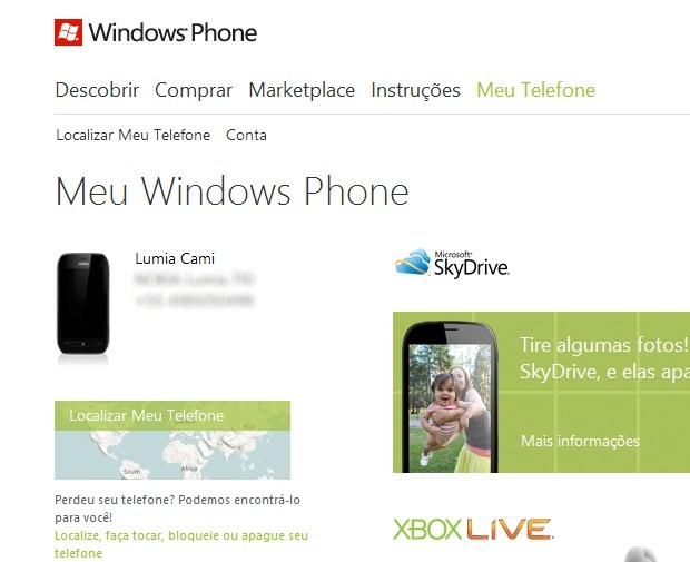 Acesse seu telefone no site do Windows Phone (Foto: Acesse seu telefone no site do Windows Phone)