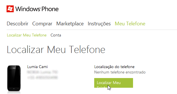 Localizando seu telefone no site Windows Phone (Foto: Localizando seu telefone no site Windows Phone)