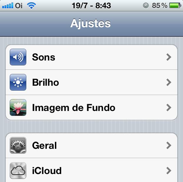"""Selecione """"iCloud"""" para iniciar a configuração (Foto: ReproduçãoEdivaldo Brito)"""