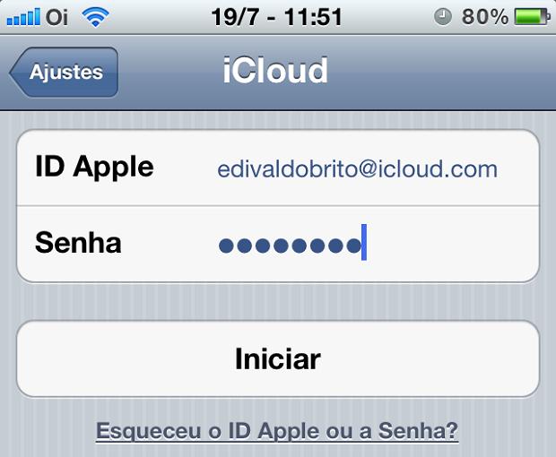 """Coloq o seu ID Apple e pressione o botão """"Iniciar"""" (Foto: Reprodução/Edivaldo Brito)"""