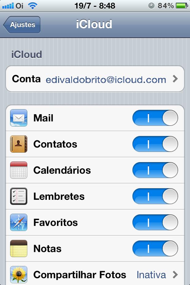 Ative os serviço qdo iCloud que for usar (Foto: Reprodução/Edivaldo Brito)