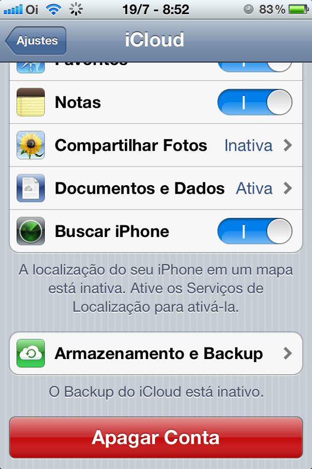 Ative o backup do aparelho no iCloud (Foto: Reprodução/Edivaldo Brito)