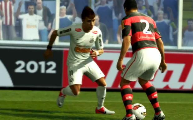 Neymar da drible desconsertante em Leo Moura do Flamengo (Foto: Reprodução)