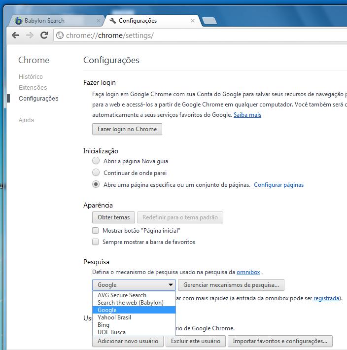 Exclua Babylon Search e adicione uma nova página com a URL do navegador que desejar