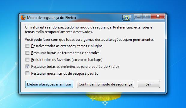 Marque a quarta opção, Restaurar todas as opções para o padrão do Firefox