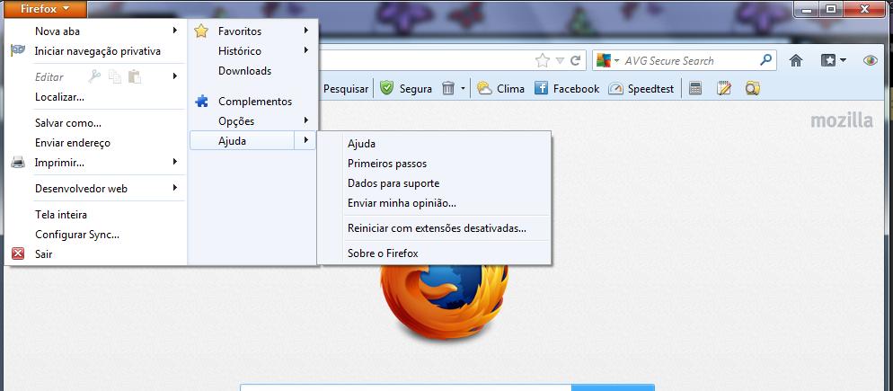 Menu Firefox