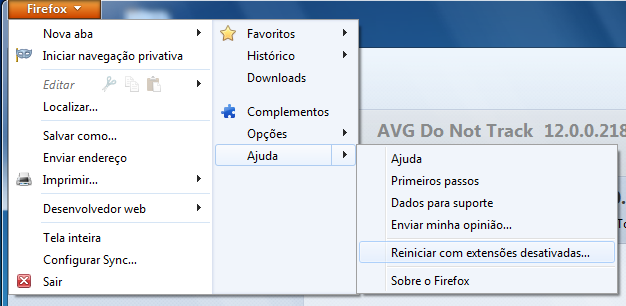 No menu Firefox, siga o caminho Ajuda > Reiniciar com extensões desativadas