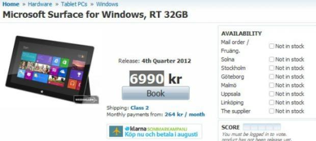 Preço do Surface em site sueco está bem acima do esperado (Foto: Reprodução)