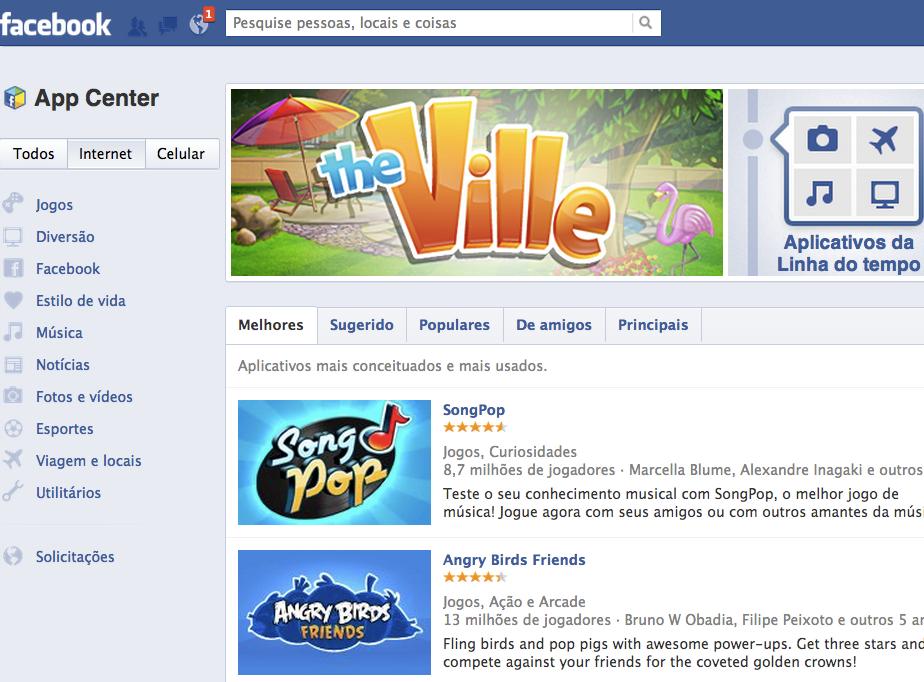 Central de Aplicativos vai reunir todos aplicativos do Facebook (Foto: Reprodução)