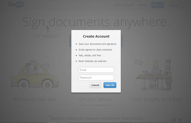 Cria uma conta para acessar SignNow (Foto: Reprodução/ Marcela Vaz)