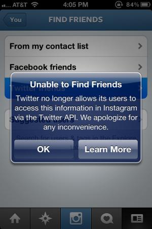 Mensagem explica que Twitter bloqueou acesso pelo Instagram (Foto: Reprodução)