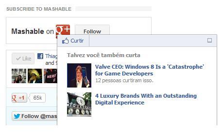 Barra de Recomendações do Facebook está no site Mashable (Foto: Reprodução)