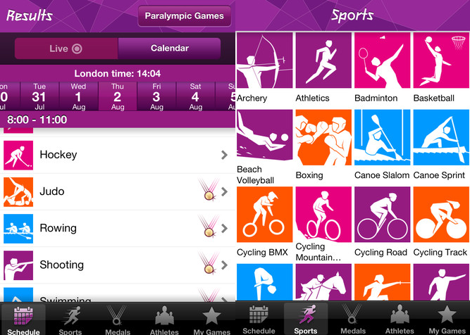 London 2012 Official Results App for the Olympic and Paralympic Games